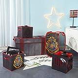 HARRY POTTER - Juego de 5 Piezas de solución, Viene con baúl Plegable, Cesta desplegable, 2 Cubos de Almacenamiento de Lentejuelas, Color Negro y Rojo