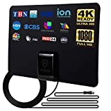 ANTOP Indoor HD TV Antenna, Digital HDTV Antenna for TV Indoor with Multi-Directional Reception, Support 4K 1080P UHF VHF Freeview Local Channels with 10ft Coax Cable