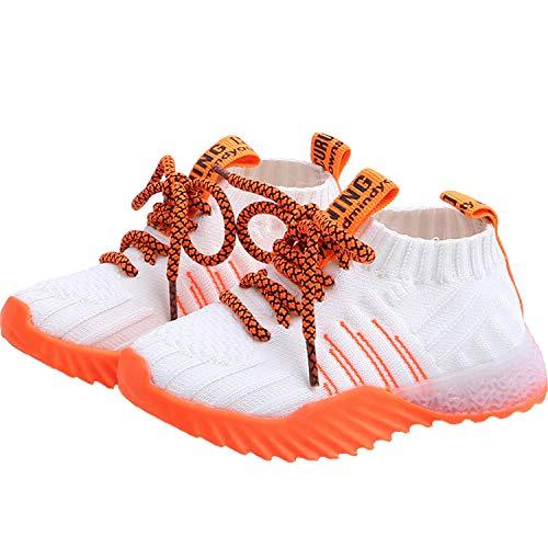 JIER Unisex Kinder LED Sneaker Turnschuhe Jungen Schuhe Mädchen Sneaker Hallenschuhe Outdoor Schuhe Laufschuhe Schnürer Freizeit Sportschuhe (18-24 Monate,Weiß)