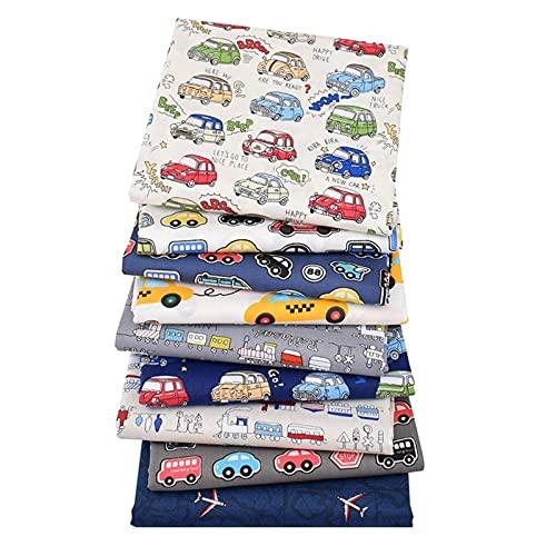 Paquete de 9 piezas de tela de algodón con estampado del tema del coche para coser, cómodo patchwork y costura de bricolaje