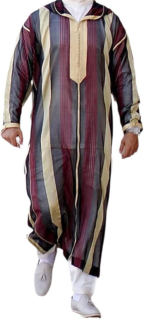 KEHAIEN Islamic Kaftan Muslim Robes, Men Casual Striped Print Long Sleeve Loose Robe, Patchwork Lapel Robes Arabia Thobe