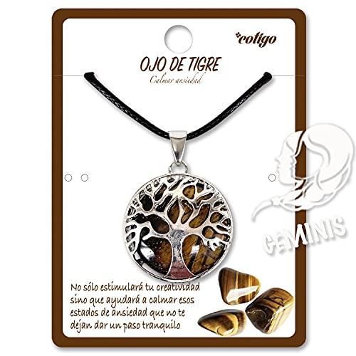 Collar de árbol de la Vida con Colgante Piedra Natural Energeticas - Distintas Piedras Semipreciosas (Ojo de Tigre)
