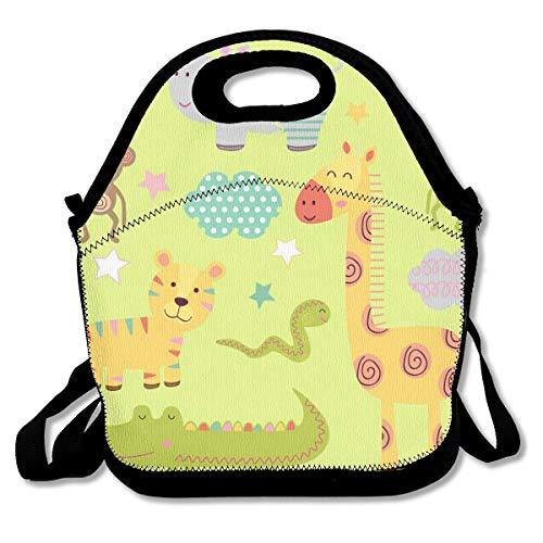 Bolsa de almuerzo con aislamiento térmico Conjunto de animales aislados de la selva para bebés Parte del bolso personal Bolsa de almuerzo Bolsa de comida de picnic al aire libre para niños