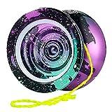 MAGICYOYO N11 Yoyo Professional Unresponsive Pro Yoyos Metal Alloy Aluminum Yoyo 4 Colors Yoyo Toy, Galaxy Yoyo Rainbow, Bonus - 5 Replacement Strings, Glove and Yo-yo Bag