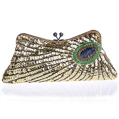 Coucoland Clutch Damen Pfau Muster 1920s Handtasche Abend Party Geldbeutel Elegante Abschlussball Handtaschen Hochzeit Braut Zubehör (Stil 1-Gold)