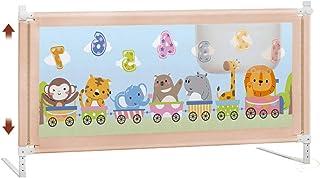 Barrera Cama- Riel de Cama Gris Extra Alto para niños pequeños, Plegable para niños Cama de bebé Riel de protección Alto 90 cm (Color : Beige, Tamaño : 1.8m)