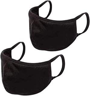 PREMIUM Black Cloth Face Mask (Pack of 2) Adjustable, Washable, Reusable, Anti-Dust Face Mask For Dust Particle & Droplet ...