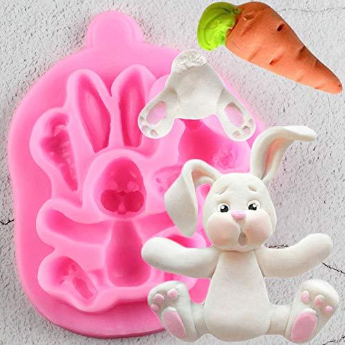 WANGY Conejo de Pascua Molde de Silicona Animales 3D Conejito Zanahoria Cupcake Topper Fondant Herramientas de decoración de Pasteles Moldes de Chocolate Gumpaste