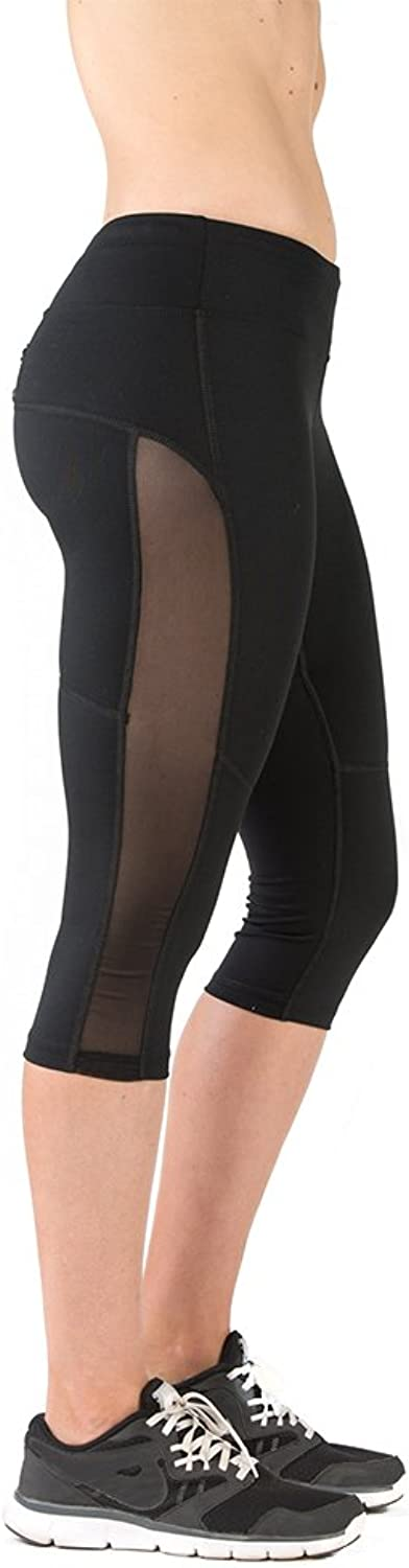 FABB ACTIVEWEAR Capri Leggings with Mesh Womens Running Tights with Compression, Black Today