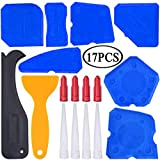 17 Pieces Caulking Tool Kit Sealant Tools Silicone Sealant Finishing Tool Grout Scraper Caulk Remover and Caulk Nozzle and Caulk Caps (Blue)