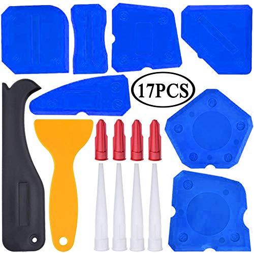 17 Pieces Caulking Tool Kit Sealant Tools Silicone Sealant Finishing Tool Grout Scraper Caulk Remover and Caulk Nozzle and Caulk Caps (Blue)