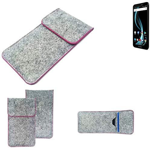 K-S-Trade Handy Schutz Hülle Für Allview X4 Soul Infinity S Schutzhülle Handyhülle Filztasche Pouch Tasche Hülle Sleeve Filzhülle Hellgrau Pinker Rand