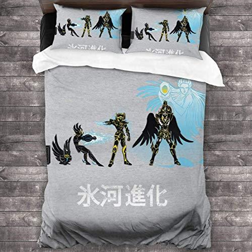 Popun Swan Evolution Saint Seiya Knights of The Zodiac Juego de Cama de 3 Piezas Funda nórdica, Juego de Cama Decorativo de 3 Piezas con 2 Fundas de Almohada