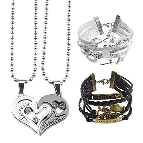 OTOTEC 4 Stks Paar Armband Puzzel Ketting Bijpassende Liefde Sieraden Set Uil Engel Bijpassend Hart voor Verjaardag Valentijnsdag Kerstmis Verjaardag