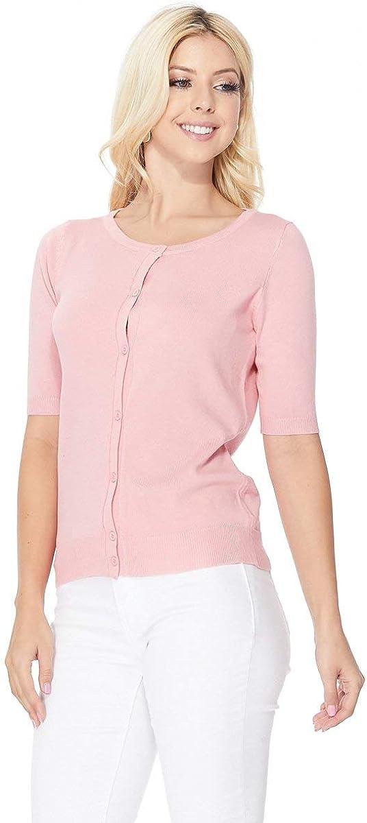 YEMAK Women's Knit Cardigan Sweater – Short Half Sleeve Crewneck Basic Classic Casual Button Down Soft Lightweight Top