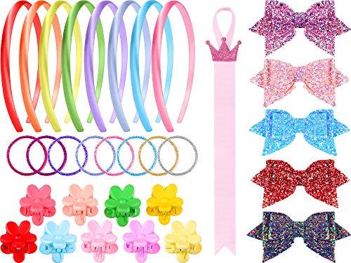100 Stuks Haaraccessoires Set voor Meisjes Inclusief 50 Glitter Multi kleuren Haarbanden, 36 Bloemvorm Klauw Haarspeldjes, 5 Bling Pailletten Glitter Strikken, 8 Stof Hoofdband en Haarboog Houder Organizer