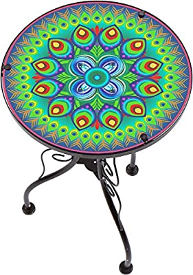 """22"""" Peacock Design Glass & Metal Side Table by Trademark Innovations"""