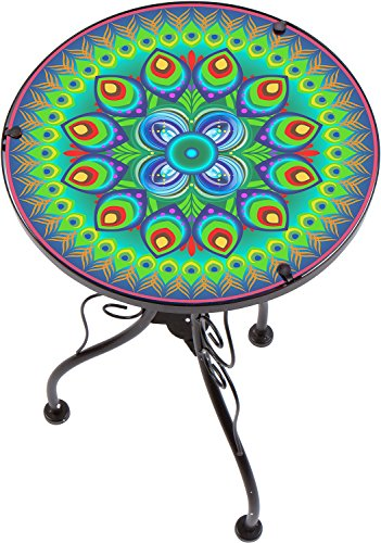 22' Peacock Design Glass & Metal Side Table by Trademark Innovations