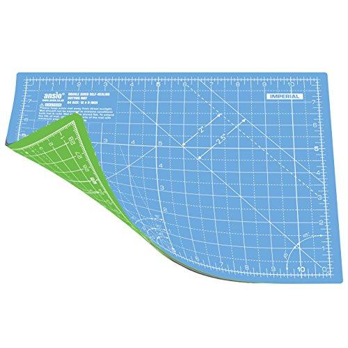 ANSIO Schneidematte Selbstheilende A4 Doppelseitige 5 Schichten sassend für Kunst, Nähen - Imperial/Metric 11 x 8 Zoll / 29 x 21 cm- Himmelblau/Lime Grün
