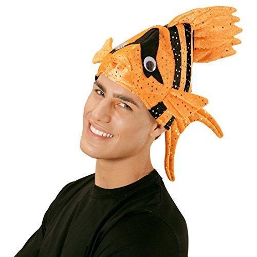 NET TOYS Lustige Fischmütze Tropen Fischhut orange Fisch Hut Mütze Tierhut Tiermütze Clownfisch Kopfbedeckung Faschingshut Nemo