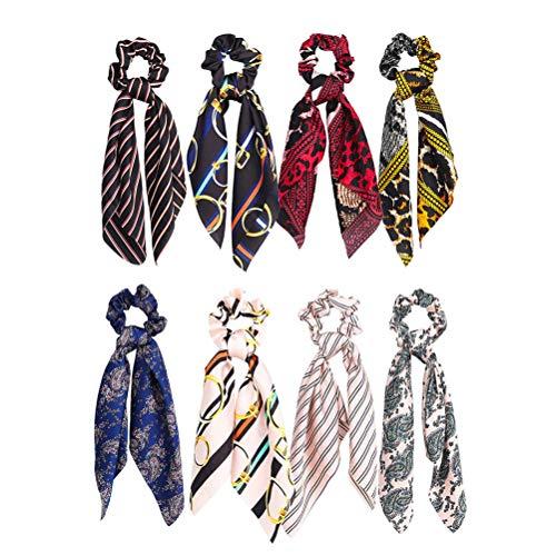 Lurrose Lot de 8 chouchous à cheveux en ruban satiné vintage avec imprimé floral et rayures