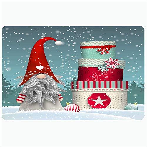 Alfombra de baño para baño Alfombrillas antideslizantes Nisser Norway Dinamarca Tomtar Winter Red Design Suecia Tonttu Signos Símbolos Gnome Holidays Diciembre Felpa Decoración Felpudo Antideslizante