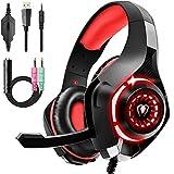 Cascos Gaming Premium Stereo con Microfono para PS4 PS5 PC Xbox One, Auriculares Gaming con Bass Surround Cancelacion Ruido, Diadema Acolchada y Ajustable