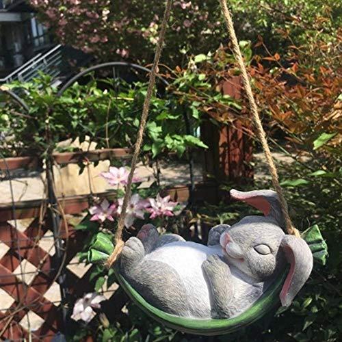 klkll Patio Columpio Simulación Conejo Resina Animal Columpio Colgante Jardín Planta Enano Micro Paisaje Jardinería Decoración del jardín