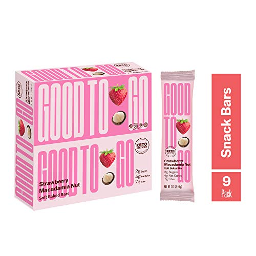 GOOD TO GO Soft Baked Bars - Strawberry Macadamia Nut, 9 Pack - Gluten Free, Keto Certified, Paleo Friendly, Low Carb Snacks