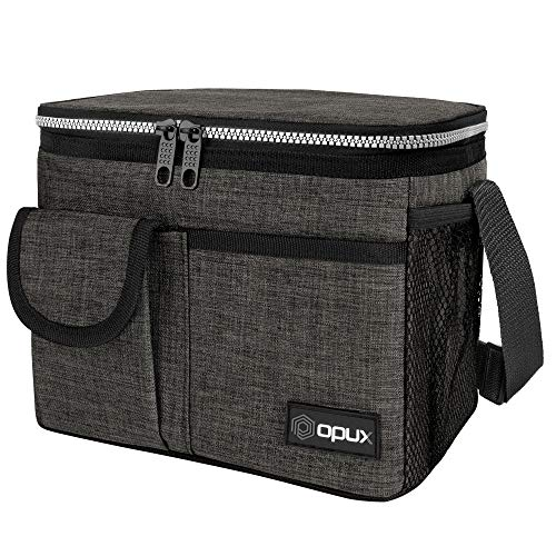 OPUX Insulated Lunch Box for Men Women, Leakproof Thermal Lunch Bag Cooler Work Office School, Soft Reusable Lunch Tote with Shoulder Strap, Adult Kid Lunch Pail Kit, 14 Cans, Dark Gray