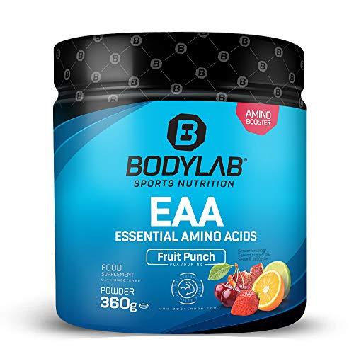 Bodylab24 EAA Essential Amino Acids 360g | 8 Essentielle Aminosäuren hochdosiert | Regeneration und Muskelaufbau | Plus Vitamin B6 | Fruit Punch