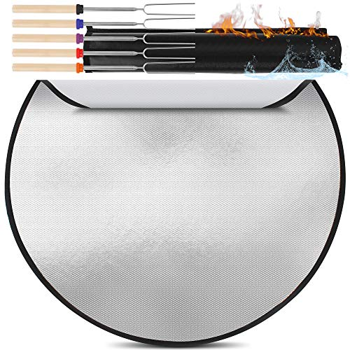 Fire Pit Mat for Deck Fireproof Up to 1300 F Degrees – 3Layer Firepit Mat for Grass – Adjustable Fire Resistant Pad – Round Grill Protector in Fire Proof Bag – Fire Pit Heat Shield 36quot