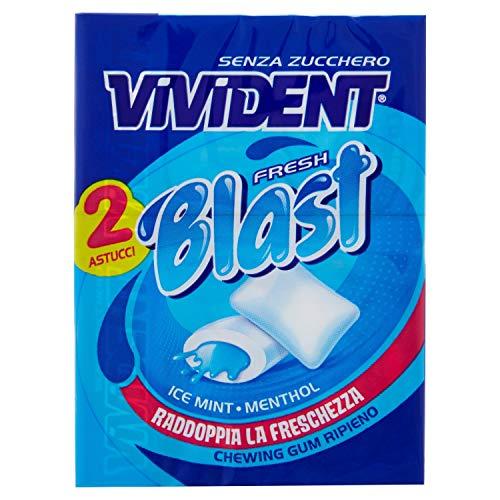 Vivident Fresh Blast Gomma da Masticare Senza Zucchero, Chewing Gum Gusto Menta, 4 Confezioni da 2 Astucci, 8 Pacchi in Totale