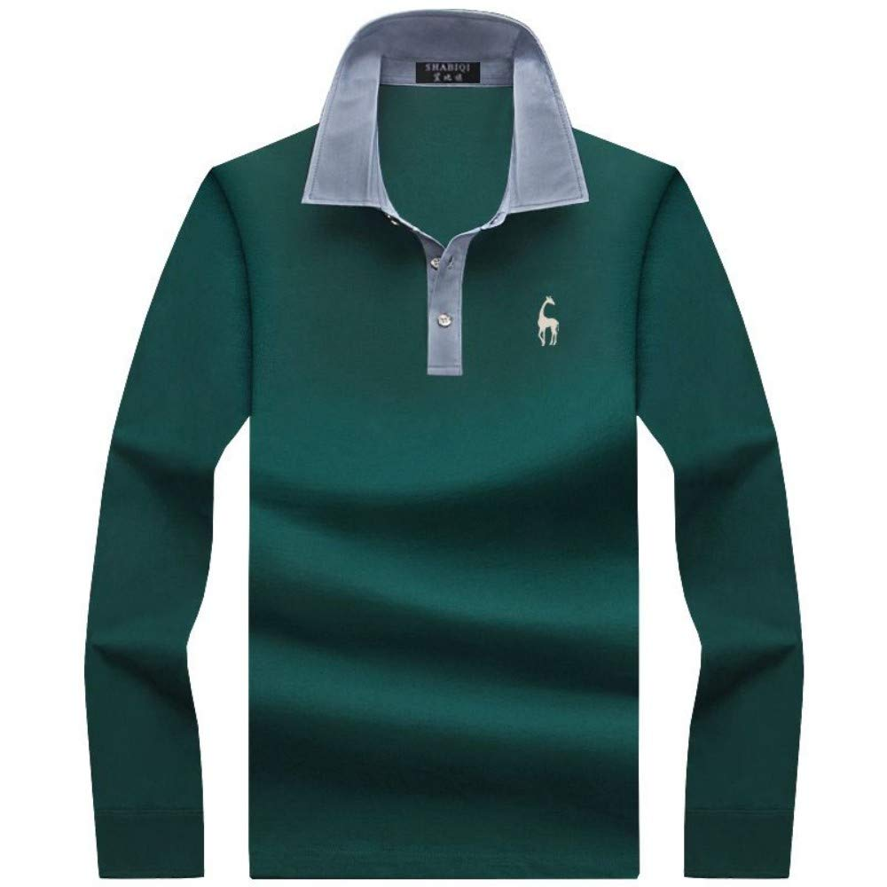 NISHIPANGZI Los Hombres Mens Polo Manga Larga Camisetas Polo ...