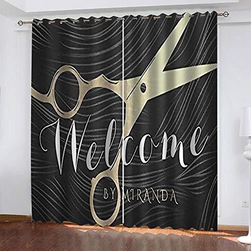 FTBDWOSF Cortinas Opacas 3D Patrón De Tijeras Creativas Ruido Cortinas Salon Dormitorio Moderno Decoración Impresión Digital 3D Cortinas Térmica Aislante 2 Tamaño del Panel: 140X160 Cm