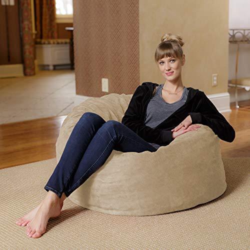 Chill Sack Bean Bag Chair: Large 3#039 Memory Foam Furniture Bean Bag  Big Sofa with Soft Micro Fiber Cover  Royal Blue Micro Suede