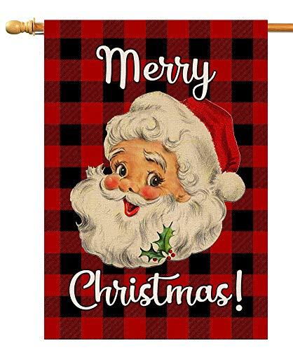 BLKWHT Red Black Buffalo Christmas Santa Claus House Flag Vertical Double Sided Merry Christmas Burlap Yard Outdoor Decor 28 x 40 Inch (137215)