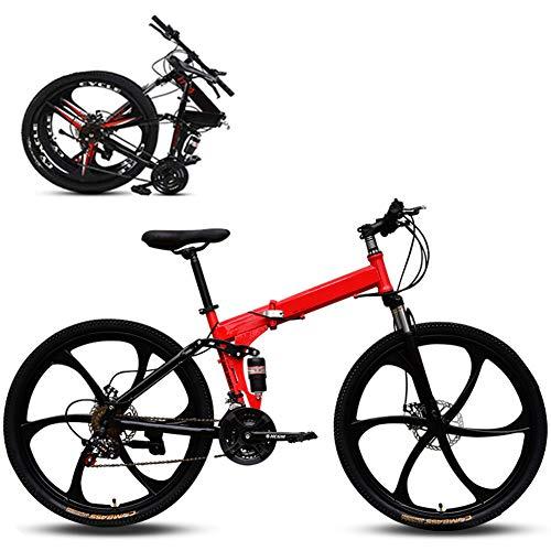 Jjwwhh Plegable Adulto Mountain Bike Bicicletas de Amortiguador portátil Boy Adultos y Hombre Kit Chica de la Bicicleta de la Bicicleta/Red