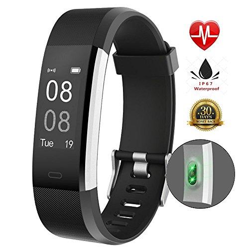 Fitness tracker IP67, impermeabile, Smart Bracelet, Smart Watch, contapassi con cardiofrequenzimetro, Black