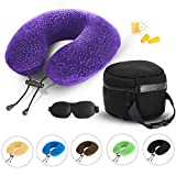 AERIS Purple Travel Pillow for Airplanes and Car - Memory Foam Neck Pillow with Sleep Mask, Earplugs, Carry Bag, Adjustable Toggles, Machine Washable Velour Cover, Purple