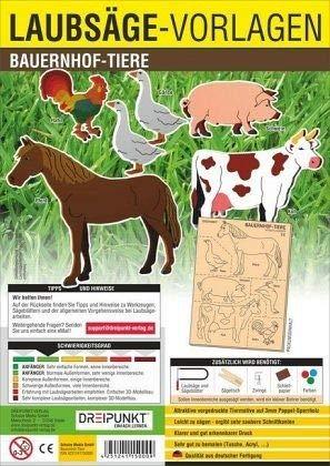 Laubsägevorlage Bauernhof-Tiere: Laubsägevorlage für sechs Bauernhof-Tiere aus hochwertigem 3mm Pappelsperrholz.