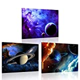 iKNOW FOTO 3 Piece Canvas Prints Galaxy Stars Abstract Space Wall Art...
