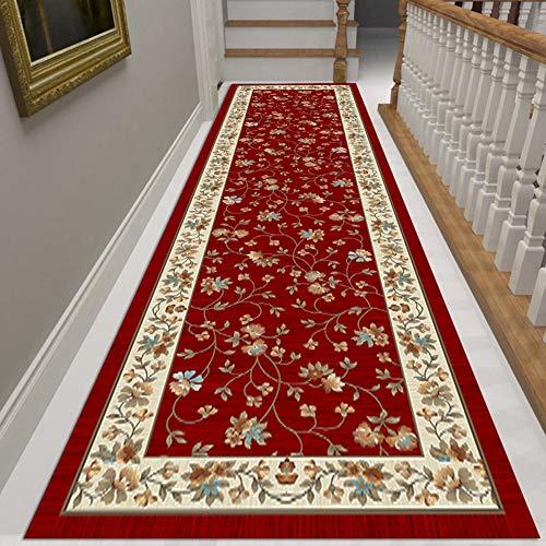 Tappeto Passatoia Corridoio Red antiscivolo Runner Tappeto, Corridoio Scale Ingresso Tappeto con Fiore modello Decorazione, 300 centimetri / 400 centi