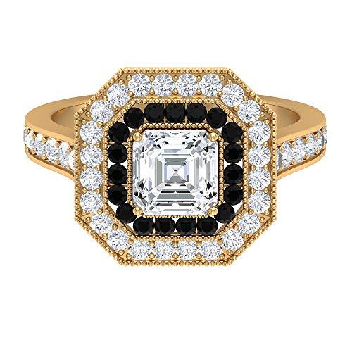 Rosec Jewels 18 quilates oro amarillo black Diamond Round Round Brilliant H-I Diamond Moissanite