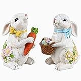 Valery Madelyn Set di 2 Coniglietto di Pasqua in Poliresina con Uova di Pasqua 16cm Decorazione di Pasqua Figurina e Statuetta di Conigli Pasquali Decorazione di Primaverile per Pasqua Casa Giardino