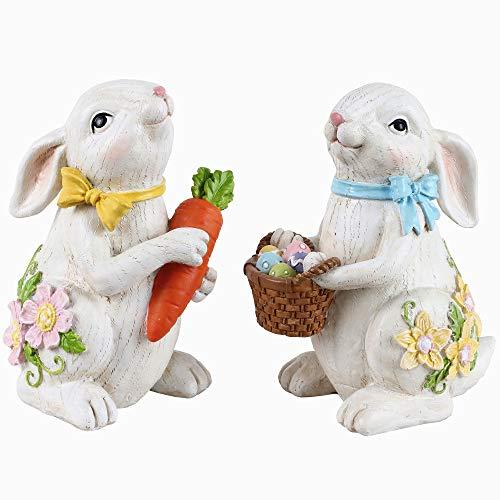 Valery Madelyn 2 Pcs Adornos Decoraciones de Pascua Conejo de Pascua 10cm Figurilla y Estatuilla de Pascua de Resina con Huevos de Pascua Decoración de Primavera para Hogar Jardín
