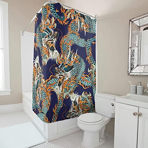 Sweet Luck Japanisch Drache Duschvorhang Anti-Schimmel Wasserdicht Waschbar Stoff Duschvorhäng Polyester Textil Badvorhänge mit Haken für Dusche White 150x180cm