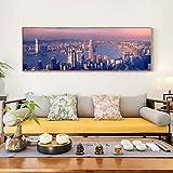 Gran Cartel Moderno Arte de la Pared Pintura Gran Ciudad Mundial Paisaje Fotos Decorar Sala de Estar,Pintura sin Marco,50X150cm