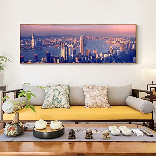 ganlanshu Große Moderne Plakatwandkunstmalerei große Weltstadtlandschaftsbilder schmücken Wohnzimmer,Rahmenlose Malerei,30X90cm