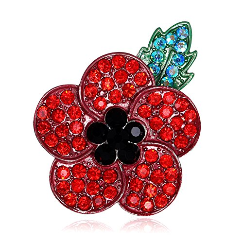 Littleducking Red Poppy Brooch Lapel Pin Enamel Badge Ribbon Flowers Green Leaf Lest We Forget Legion Remembrance Day Peace 2020